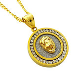 Lionhead Circular Pendant Necklace // 14K Gold Plated