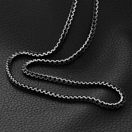 Modern Venetian Box Chain Necklace // Black Plated