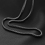 Modern Venetian Box Chain Necklace // Black Plated