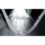Mini Curb Chain Necklace // 14K White Gold Plated