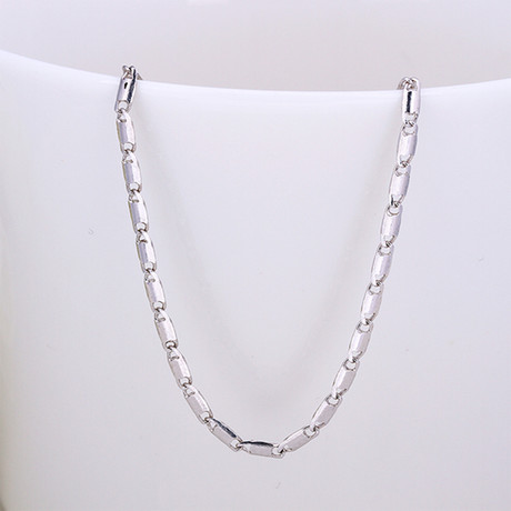 Rolo Chain Necklace // 14K White Gold Plated