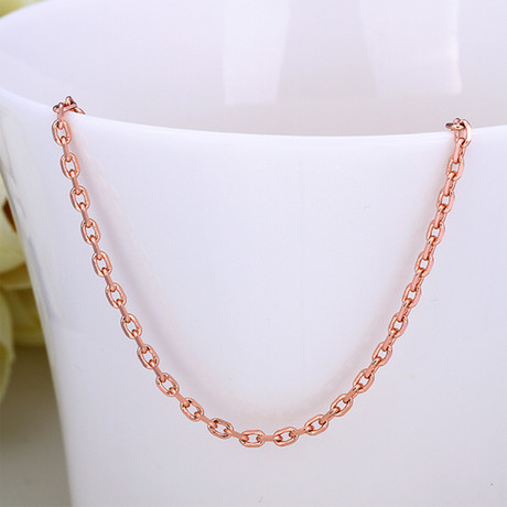 Italian Curb Chain Necklace // 14K Rose Gold Plated
