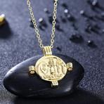 Ancient Roman Design Pendant Necklace // 14K Gold Plated