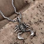 Scorpion Design Pendant Necklace // Stainless Steel