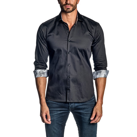 Long-Sleeve Button-Up Shirt // Black (S)