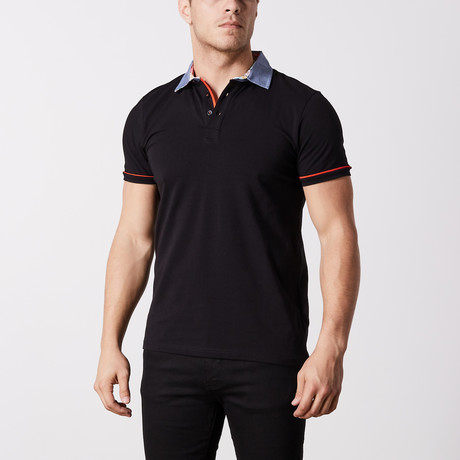 Reyes Stripe Polo // Black (S)
