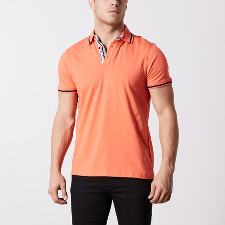 Carmet Stripe Polo // Orange (S)