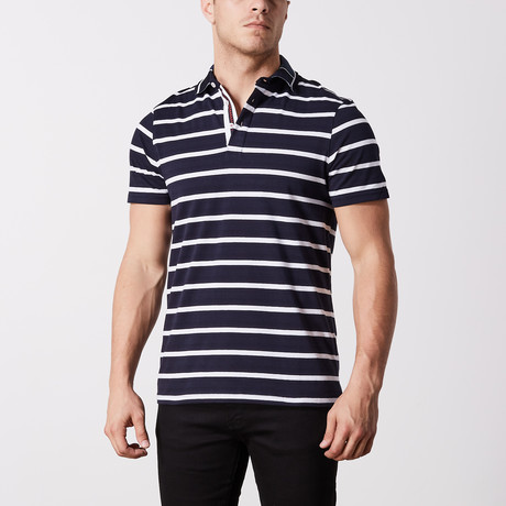 Ross Stripe Polo // Navy (S)