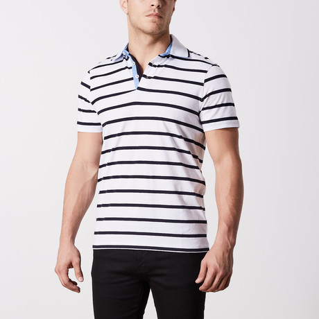 Manchester Stripe Polo // White (S)