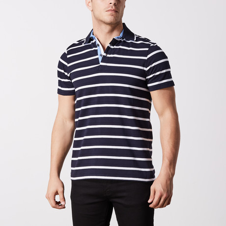Guala Stripe Polo // Navy (S)