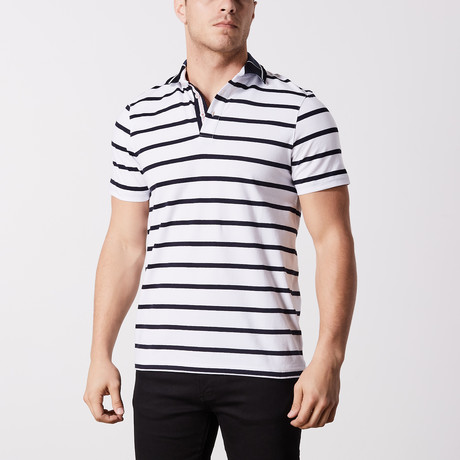 Kruse Stripe Polo // White (S)
