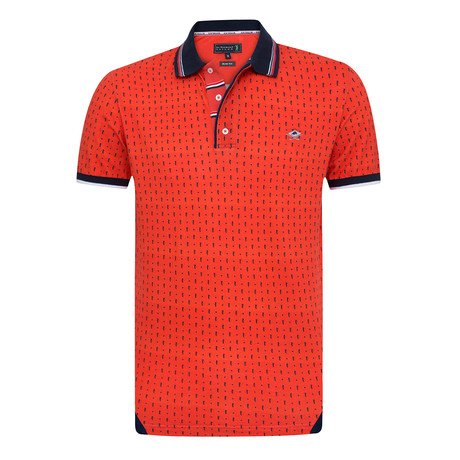 Darker Printed Short Sleeve Slim Fit Polo // Red (XS)