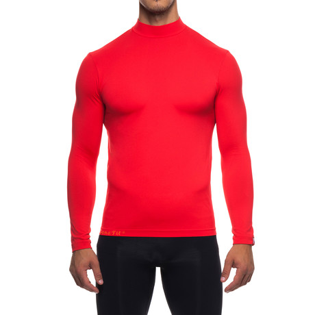 Infrared [AR] Mock Neck Long-Sleeve Shirt // Flame Scarlet (S)