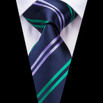 Percy Handmade Tie // Navy + Green Stripe