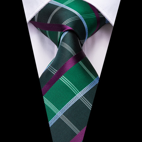 Vale Handmade Tie // Green + Purple Plaid