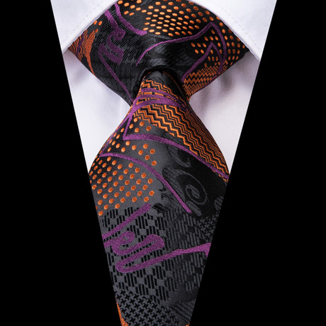 Pascale Handmade Tie // Black + Orange