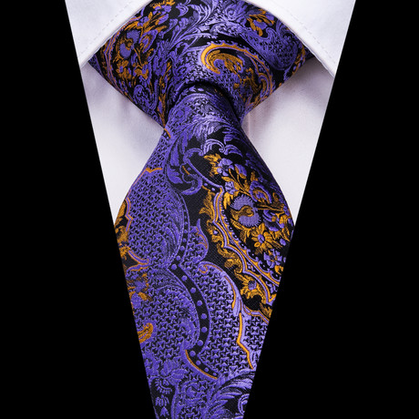 Lancelot Handmade Tie // Purple + Gold