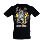 Flamin Leopard T-Shirt // Black (M)