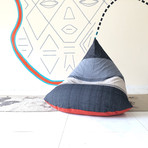 Handloom Cotton Beanbag // Unfilled // Chalky Waters + Rust