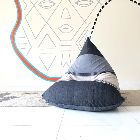 Handloom Cotton Beanbag // Chalky Waters + Charcoal