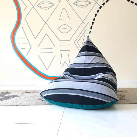 Handloom Cotton Beanbag // Unfilled // Static Stripe + Emerald
