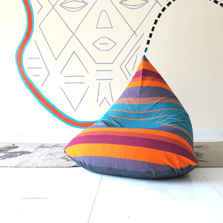 Handloom Cotton Beanbag // Unfilled // Back to the Future + Charcoal
