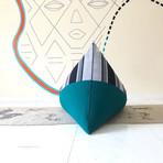 Handloom Cotton Beanbag // Unfilled // Static Stripe + Emerald
