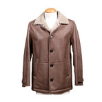 Beorn Shearling Wool Lined Leather Parka // Brown (M)