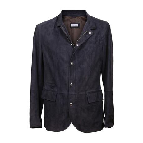 Suede Overcoat // Blue (XS)