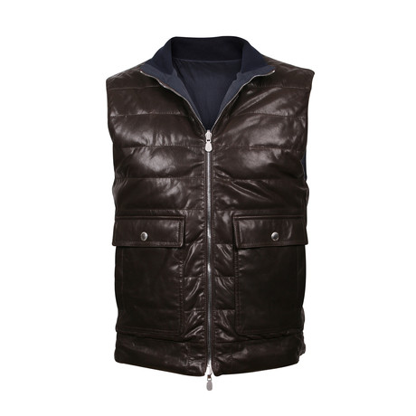 Reversible Leather Vest // Brown (XS)