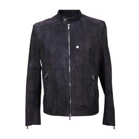 Suede Biker Jacket // Blue (XS)