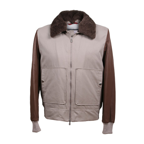 Elrond Shearling Fur Collar Leather Jacket // Brown + Taupe (XS)