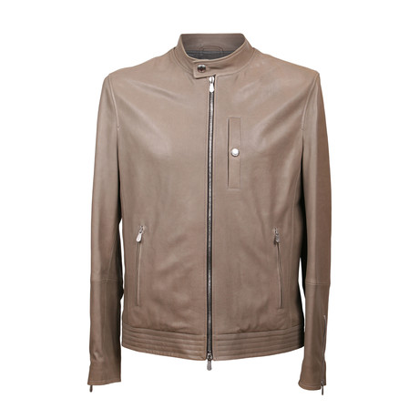 Leather Bomber Jacket // Taupe (XS)