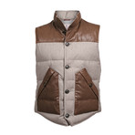 Two Tone Leather-Wool Blend Vest // Brown (XS)