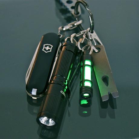 TEC A3 Aluminum Glow Fob // Black Anodize (Green Glow)