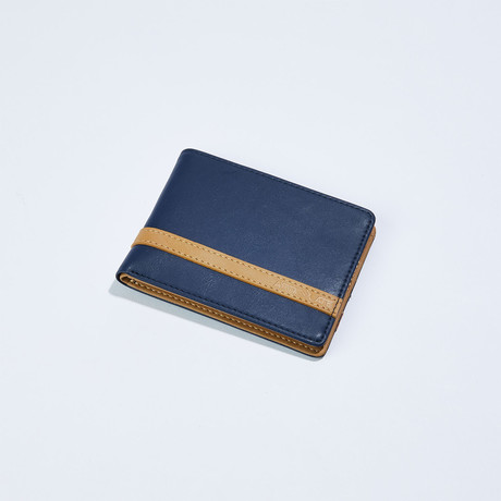 Wallet // Dark Blue + Beige