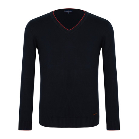 Barnabas V-Neck Sweater // Navy + Red (XS)