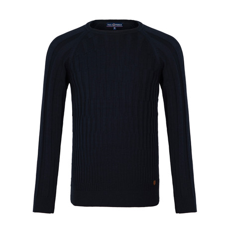 Stanford Striped Crew Neck Sweater // Navy (S)