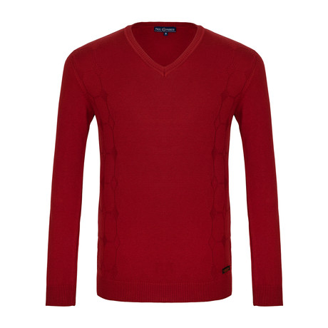 Miller V-Neck Sweater // Red (XS)