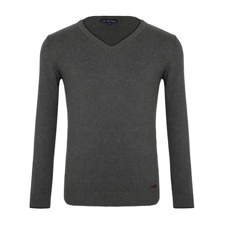 Wilbur V-Neck Sweater // Anthracite (XS)