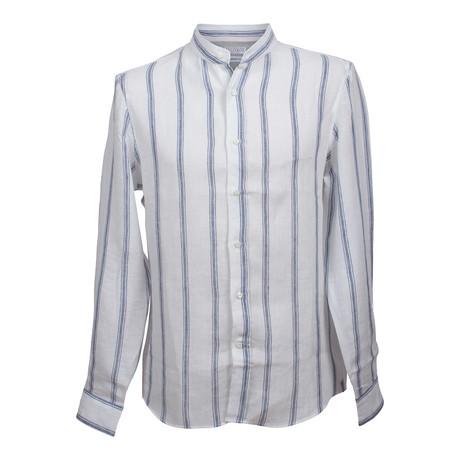 Leisure Fit Non Collar Linen Silk Shirt // Blue + White (XS)