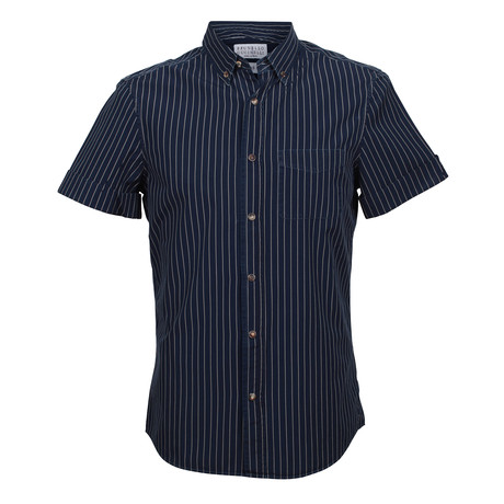 Leisure Fit Short Sleeve Stripe Shirt // Navy (2XS)