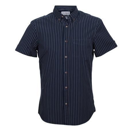 Leisure Fit Short Sleeve Stripe Shirt // Navy (XS)