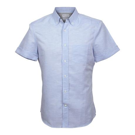 Linen Cotton Blend Slim Short Sleeve Shirt // Blue (XS)
