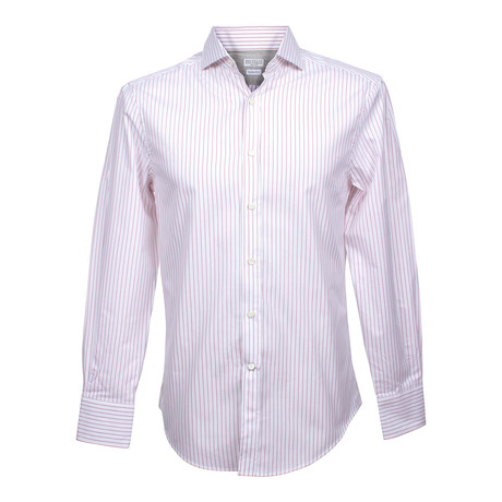 Slim Button Color Stripe Shirt V1 // White + Red (2XS)