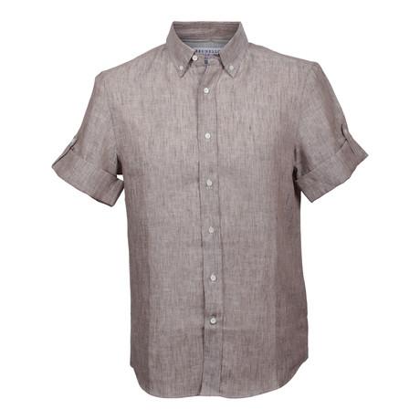 Linen Striped Short Sleeve Shirt // Brown (XS)
