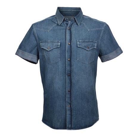 Heavy Denim Leisure Fit Short Sleeve Western Shirt // Blue (XS)