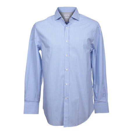 Basic Fit Button Up Check Shirt // Blue (XS)