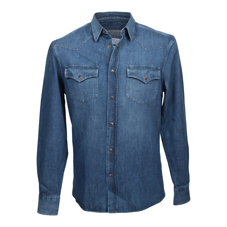 Heavy Denim Leisure Western Shirt // Blue (XS)