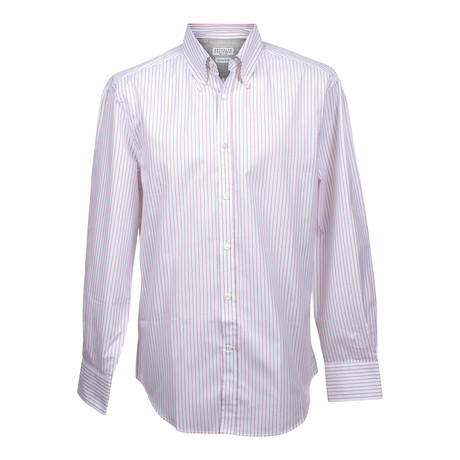 Slim Button Color Stripe Shirt V2 // White + Red (2XS)